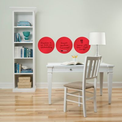 WallPops!® Peel + Stick Dry-Erase Dot Decals in Red Orange (Set of 3)