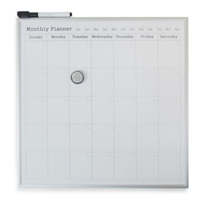 Monthly Calendar Dry Erase Board in White