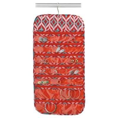 Closetware 19-Pocket Ikat Hanging Jewelry Organizer in Red/Orange