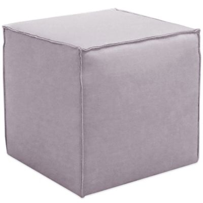 Skyline Furniture French Seam Cocktail Ottoman in Linen Smokey Quartz