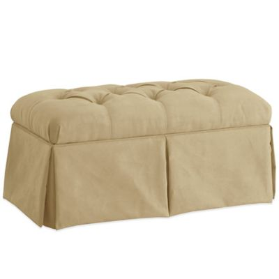 Skyline Furniture Skirted Storage Bench in Velvet Buckwheat
