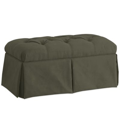 Skyline Furniture Skirted Storage Bench in Velvet Pewter