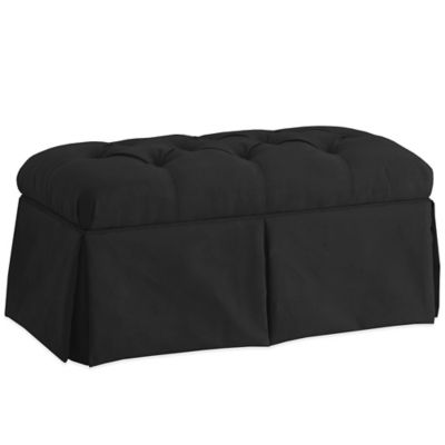 Skyline Furniture Skirted Storage Bench in Velvet Black