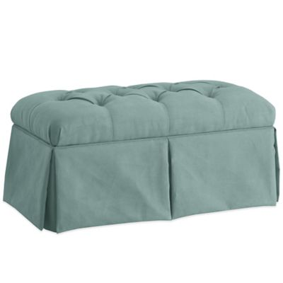 Skyline Furniture Skirted Storage Bench in Velvet Caribbean
