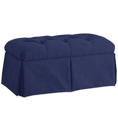 Skyline Furniture Skirted Storage Bench in Velvet Navy