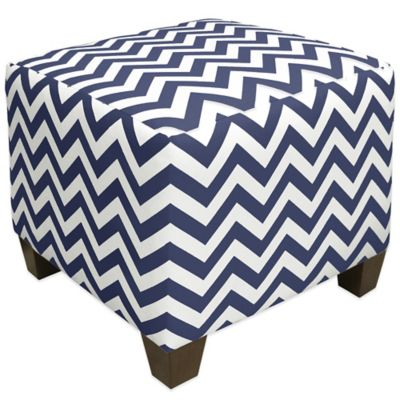 Skyline Furniture Square Ottoman in Zigzag Navy/White