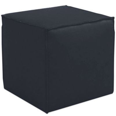 Skyline Furniture French Seam Cocktail Ottoman in Linen Navy