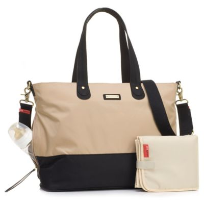 Storksak® Colorblock Tote Diaper Bag in Black/Beige