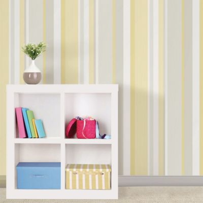 WallPops!® NuWallpaper™ Linen Stripe Peel & Stick Wallpaper in Yellow