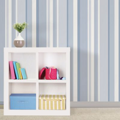 WallPops!® NuWallpaper™ Linen Stripe Peel & Stick Wallpaper in Blue