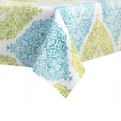 J. Queen New York™ Roma 60-Inch x 84-Inch Oval Tablecloth in Aqua