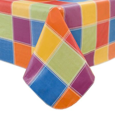 Multi-Color Check 60-Inch x 84-Inch Oval Vinyl Tablecloth