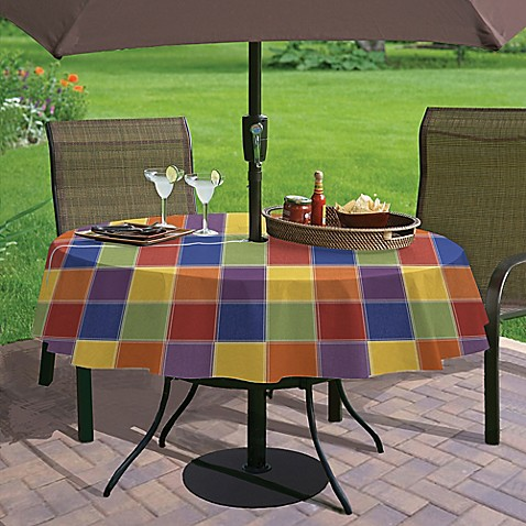 buy summer check 70 inch umbrella vinyl tablecloth