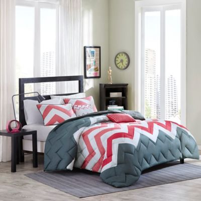 Cozy Soft® Cade 4-Piece Reversible Full/Queen Comforter Set in Coral