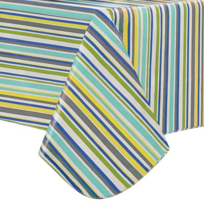 Nouveau Stripe 60-Inch x 84-Inch Oval Tablecloth