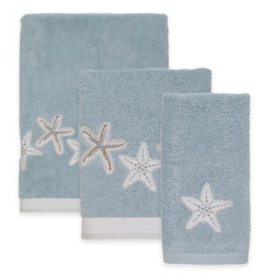 Avanti Sequin Shells Mineral Fingertip Towel