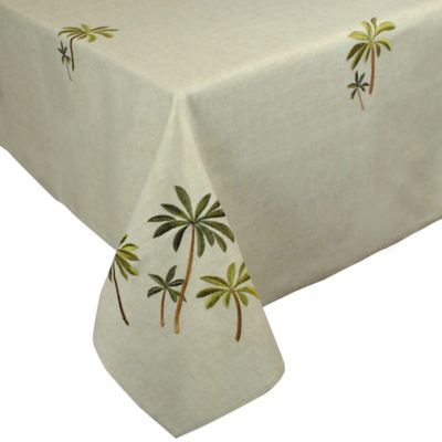 Palm Tree Embroidered 60-Inch x 84-Inch Oblong Tablecloth