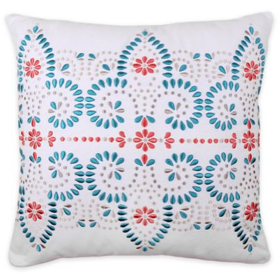 Scarlet Embroidered Square Throw Pillow