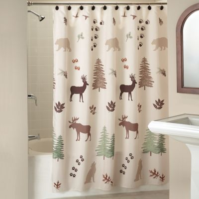Silhouette Lodge Shower Curtain in Natural