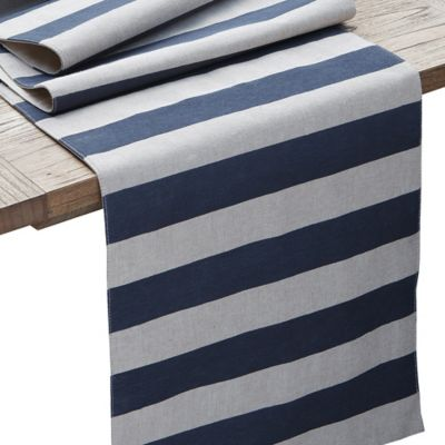 Coastal Chambray Stripe 72-Inch Table Runner