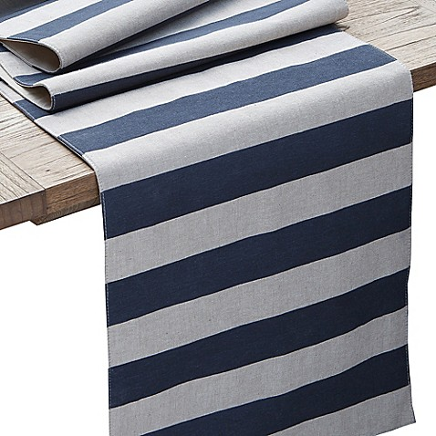 coastal runner 90 Coastal Runner Inch Table Chambray  Stripe table