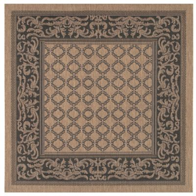 Couristan® Recife Garden Lattice 7-Foot 6-Inch Square Indoor/Outdoor Rug in Cocoa/Black