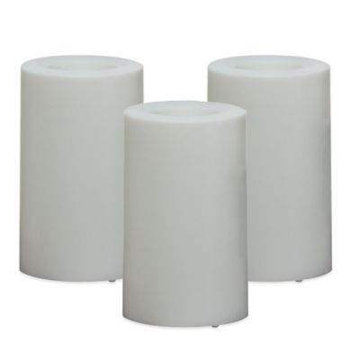 2-in-1 Flameless Plastic Pillar Candles (Set of 3)