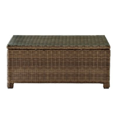 Crosley Bradenton Glass Top Wicker Table in Sand