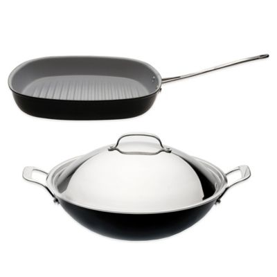 BergHOFF® 3-Piece Covered Wok and Grill Pan Cookware Set