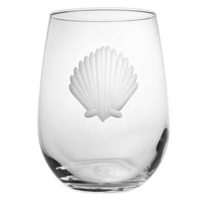 Seashell Stemless Wine Glasses (Set of 4)