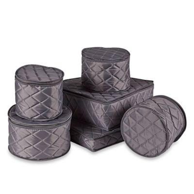 .ORG Quilted 6-Piece Dinnerware Cover Starter Set in Grey