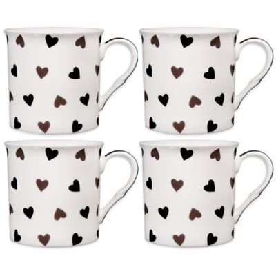 Black Hearts Coffee Mugs (Set of 4)