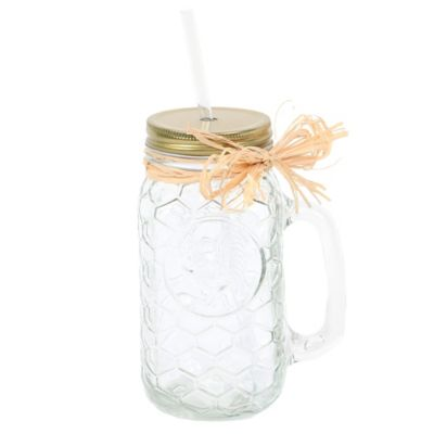Glass Embossed Mason Jar Mug with Lid & Straw