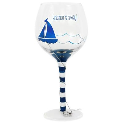 """Anchors Away"" Wine Glass"