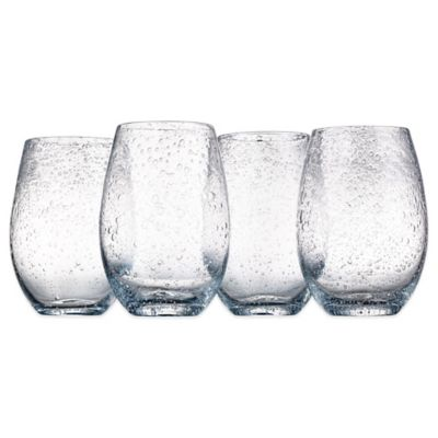 Artland® Iris Stemless Wine Glasses in Clear(Set of 4)