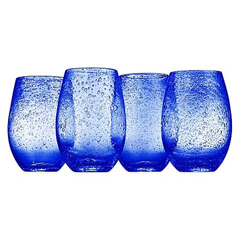 Artland 174 Iris Stemless Wine Glasses In Blue Set Of 4