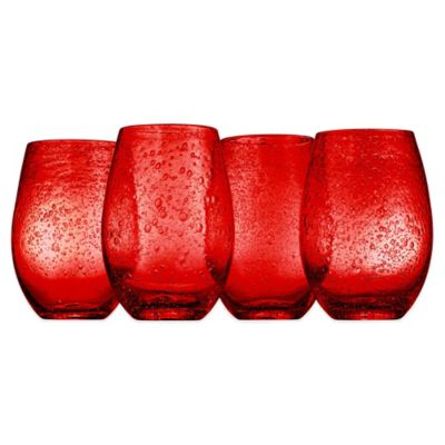 Artland® Iris Stemless Wine Glasses in Ruby (Set of 4)