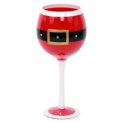 Santa Belt Glass Wine Glass