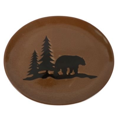 Stoneware Bear Serving Platter in Green