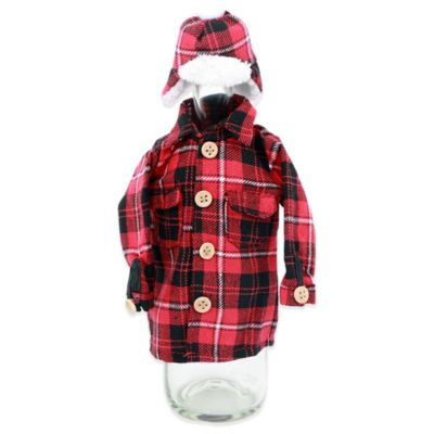 Buffalo Plaid Jacket and Hat Wine Bottle Holder Set