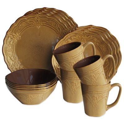 American Atelier Napa 16-Piece Dinnerware Set in Coffee