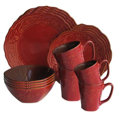 American Atelier Napa 16-Piece Dinnerware Set in Red