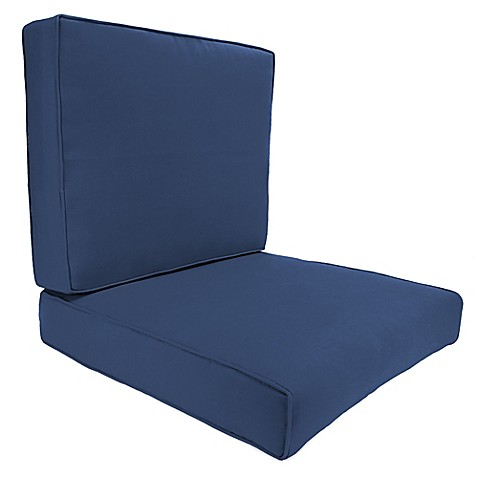 Buy 45 Inch X 25 Inch 2 Piece Deep Seat Chair Cushion In Sunbrella 174 Canvas Navy From Bed Bath Amp Beyond