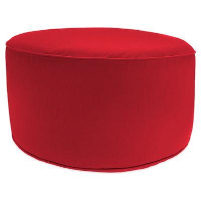 Outdoor Round Pouf Ottoman in Sunbrella® Canvas Jockey Red