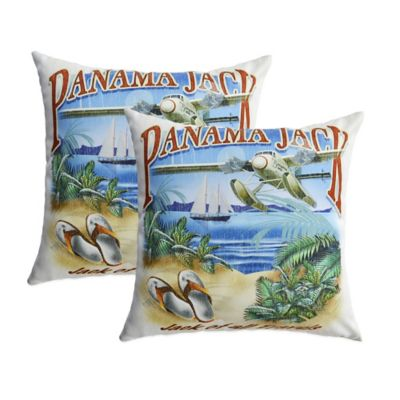 "Panama Jack ""Jack of all Travels"" Outdoor Throw Pillows (Set of 2)"