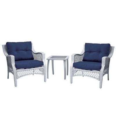 Stratford 3-Piece Wicker Chair Set in Blue