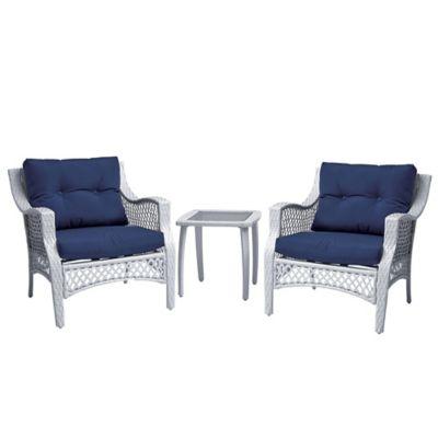 Stratford 3-Piece Wicker Chair Set in Blue