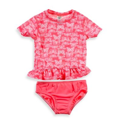 OshKosh B'gosh® 2-Piece Butterfly Print Rashguard Set in Coral