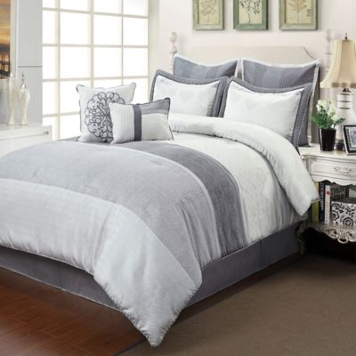 Ciena 8-Piece King Comforter Set in Silver/Grey