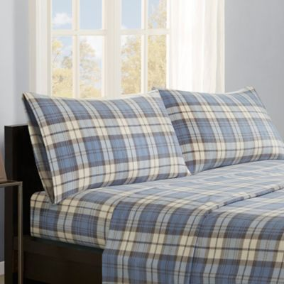 Premier Comfort Micro Fleece Full Sheet Set in Blue Plaid
